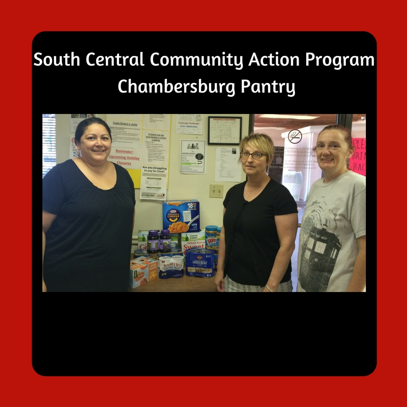 Pictured from left to right: Jennifer Miller, SCCAP Emergency Services/Food Pantry Coordinator, Laureen Lutz, Business Development Mananger at 1st Ed Credit Union, and Diane Young, SCCAP Volunteer.