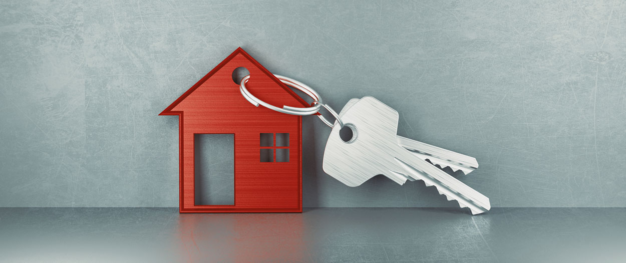 new house concept, key + house key chain
