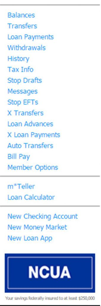 Online Banking Left Side Menu Options