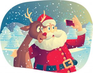 Santa and Rudolph taking a selfie