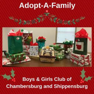 adopt-a-family presents for the boys & girls club of chambersburg and shippensburg