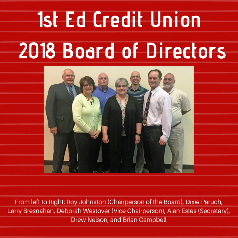 1st Ed Credit Union's 2018 Board of Directors From left to Right: Roy Johnston (Chairperson of the Board), Dixie Paruch, Larry Bresnahan, Deborah Westover (Vice Chairperson), Alan Estes (Secretary), Drew Nelson, and Brian Campbell