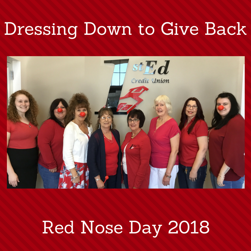 1st Ed Staff dress down to give back on Red Nose Day by wearing jeans, red shirts and red clown noses