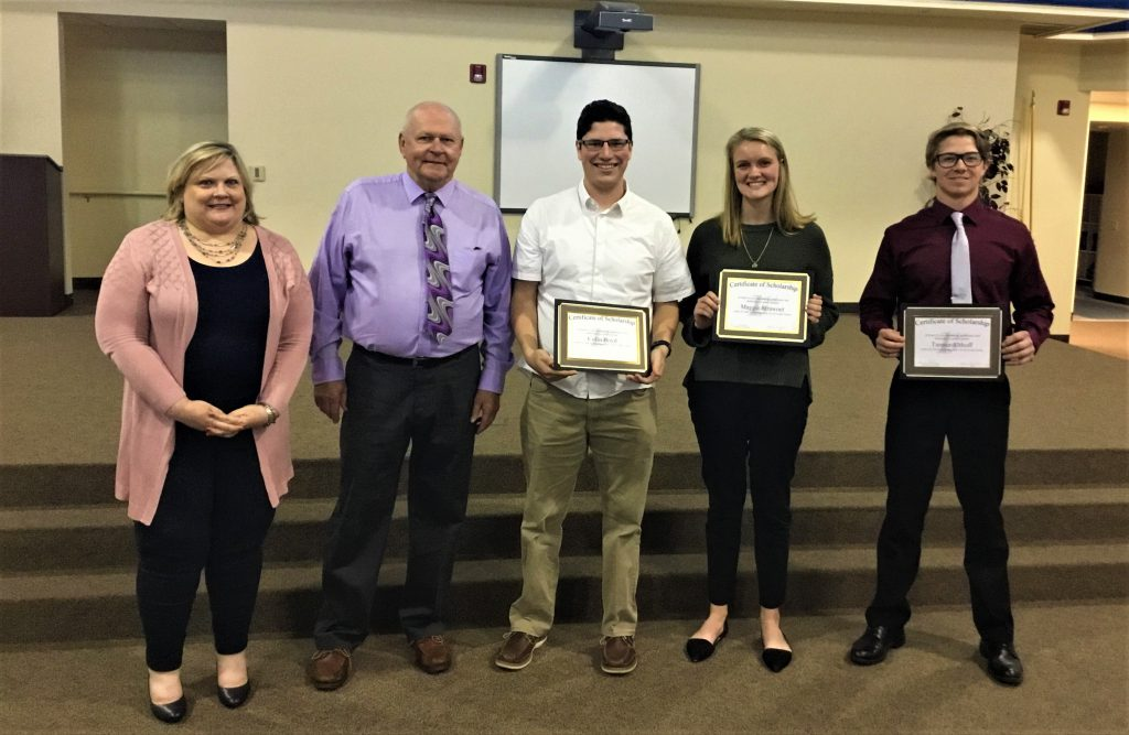 2019 scholarship recipients- pictured from left: Kelly Childress, CEO, Roy Johnston, Chairperson of the Board, Colin Boyd, Maggie Strawoet, and Tanner Althoff. Not pictured: Sydnee Loy.
