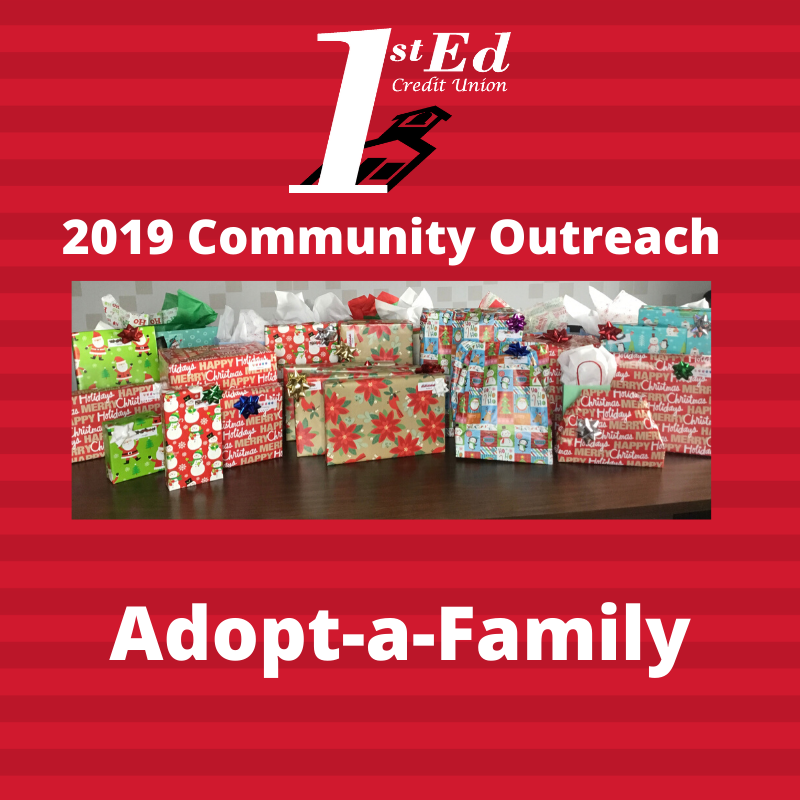 Photo of wrapped presents from Community Outreach - Adopt-a-Family